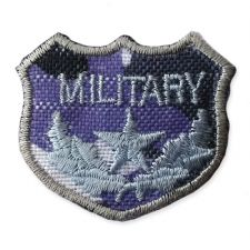 BLUE MILITARY SHIELD MOTIF IRON ON EMBROIDERED PATCH APPLIQUE